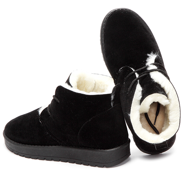 Pure Color Lace Up Wool Fleece Lining Short Snow Boots