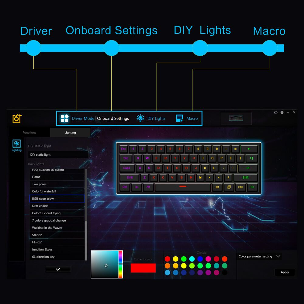 Geek GK61 60% 61Keys Gateron Optical Axis RGB Mechanical Keyboard Type-c Programmable Gaming