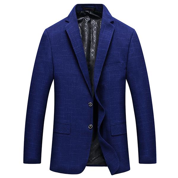 Mens Royal Blue Slim Fit Business Casual Lapel Collar Chest Pocket Coat Two Button Suit