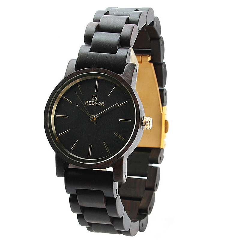 REDEAR SJ1624-G Ebony Wood Unisex Watch Casual Style Wo