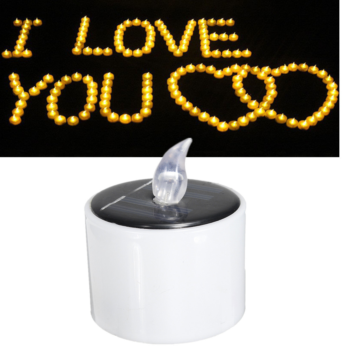 Solar Powered LED Candle Battery Wedding Decor Romantic Warm White Tea Light