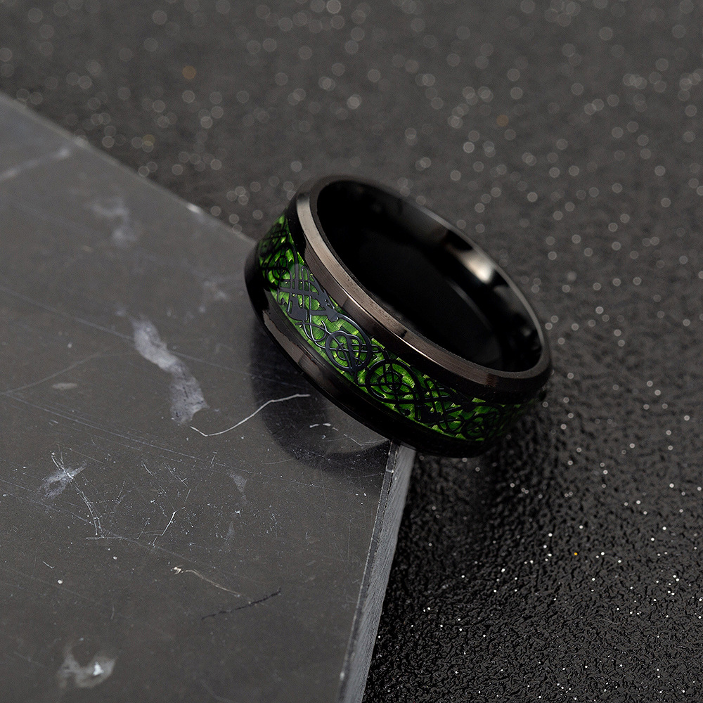 Ethnic Carbon Fiber Finger Red Dragon Pattern Rings for Men
