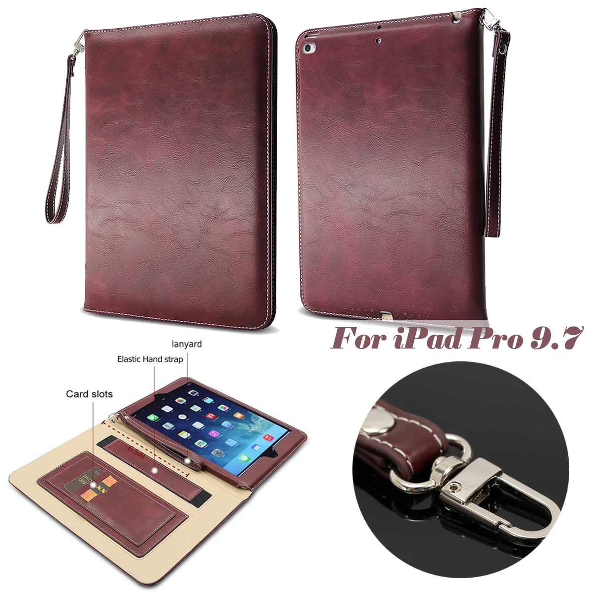 Flip Smart Sleep Shockproof Kickstand PU Leather Case For iPad Pro 9.7 Inch