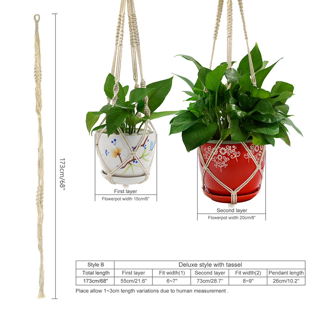 Double Layer Handmade Cotton Flower Pot Holder Hanging Basket Flower Hanger Ropes Garden Home Decoration Cotton plant hanger macrame rope hanging basket hanger balcony Flower Plant Pot Hangers Hook