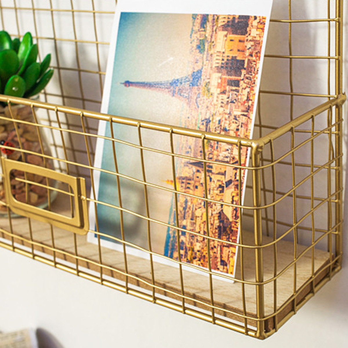 Gold Wire Rack Metal Photo Modern Wall Hanging Shelf Storage Organizer Baskets w/ LED