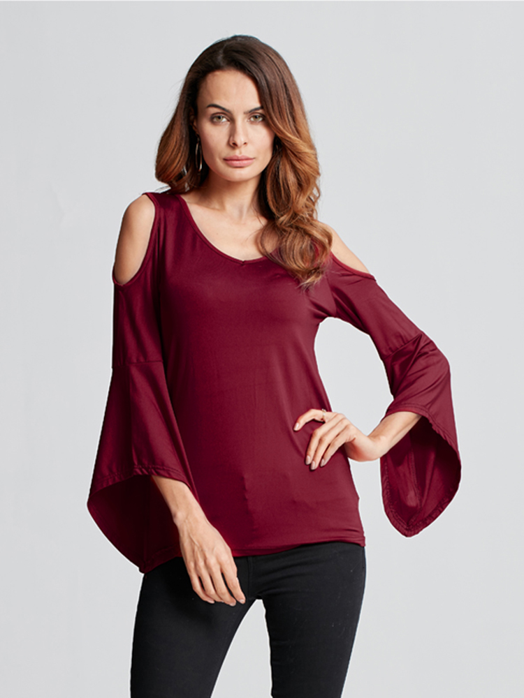 Sexy Women Pure Color Trumpet Sleeve Off Shoulder V-Neck Blouse