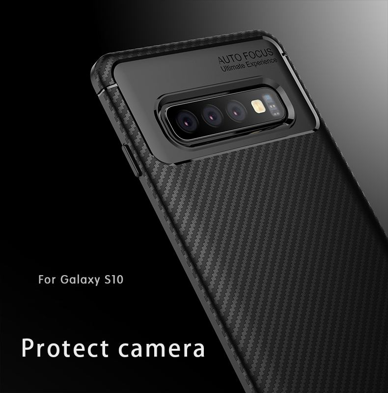 Bakeey Protective Case For Samsung Galaxy S10 6.1 Inch Slim Carbon Fiber Fingerprint Resistant Soft TPU Back Cover