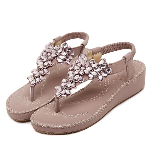 Bohemia Rhinestone Bead Clip Toe Wedge Sandals Elastic Flat Beach Sandals