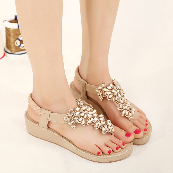 Bohemia Rhinestone Bead Clip Toe Wedge Sandals Elastic Flat Beach Sandals