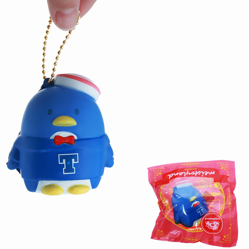 Meistorland Navy Penguin Squishy Soft Straps Squeeze Toy With Chain Retail Packaging