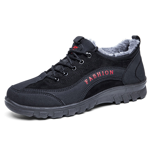 Comfy Men Casual Soft Sole Warm Fur Lining Suede Leather Sports Athetic Shoes