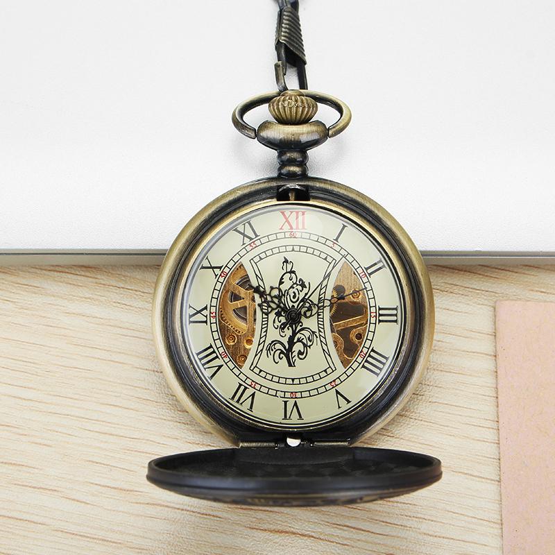 JIAJIA JX010 Pocket Watch Roman Hollow Self-winding Mechanical Watch