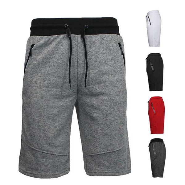 Mens Casual Elastic Waist Zippered Pocket Shorts
