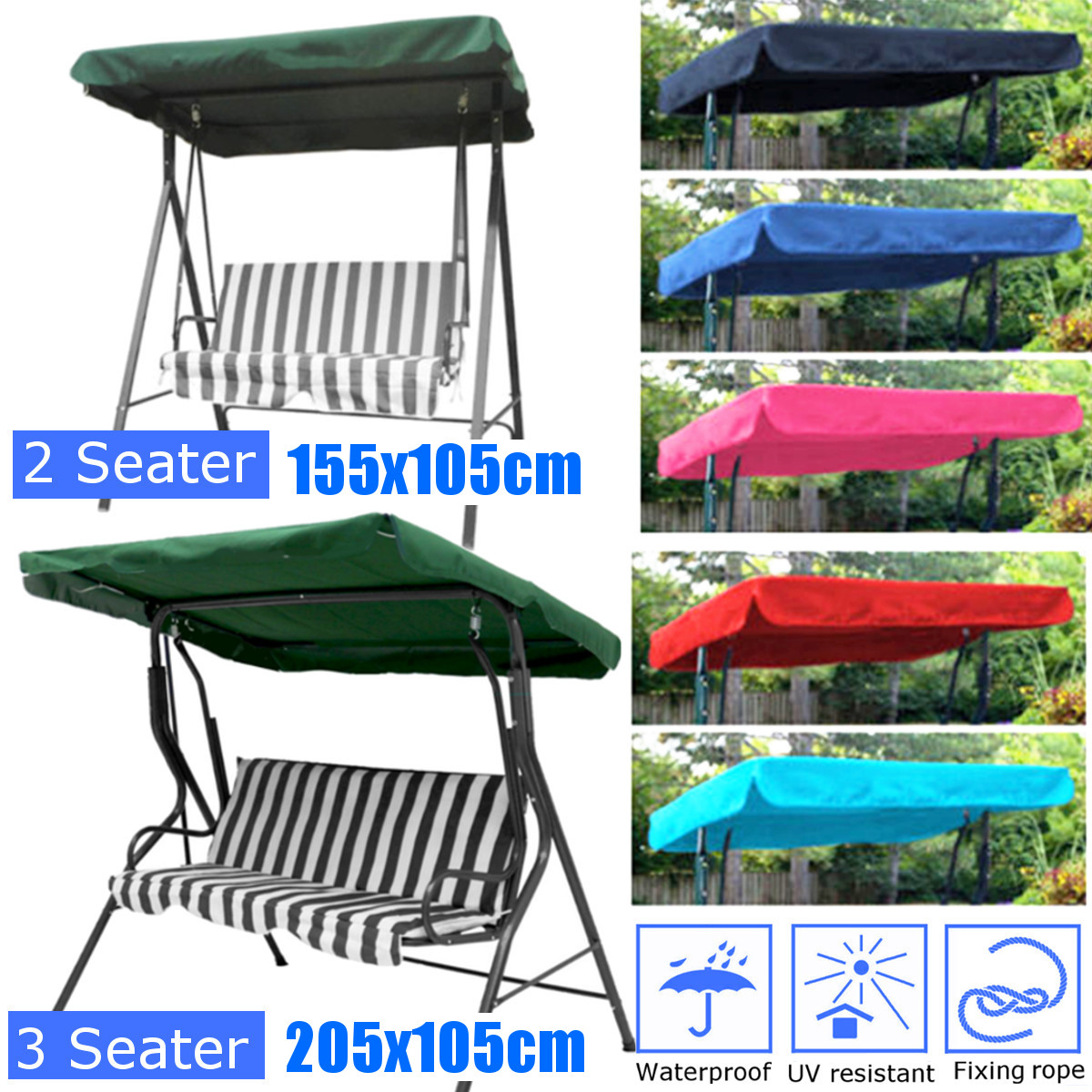 2/3 Seaters Swing Chair Garden Hammock Anti-UV Replacement Canopy Spare Cover