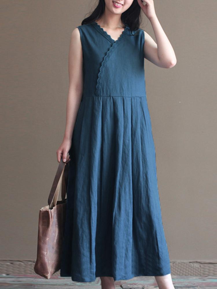 Vintage Women Sleeveless V-neck Pure Color Maxi Dress