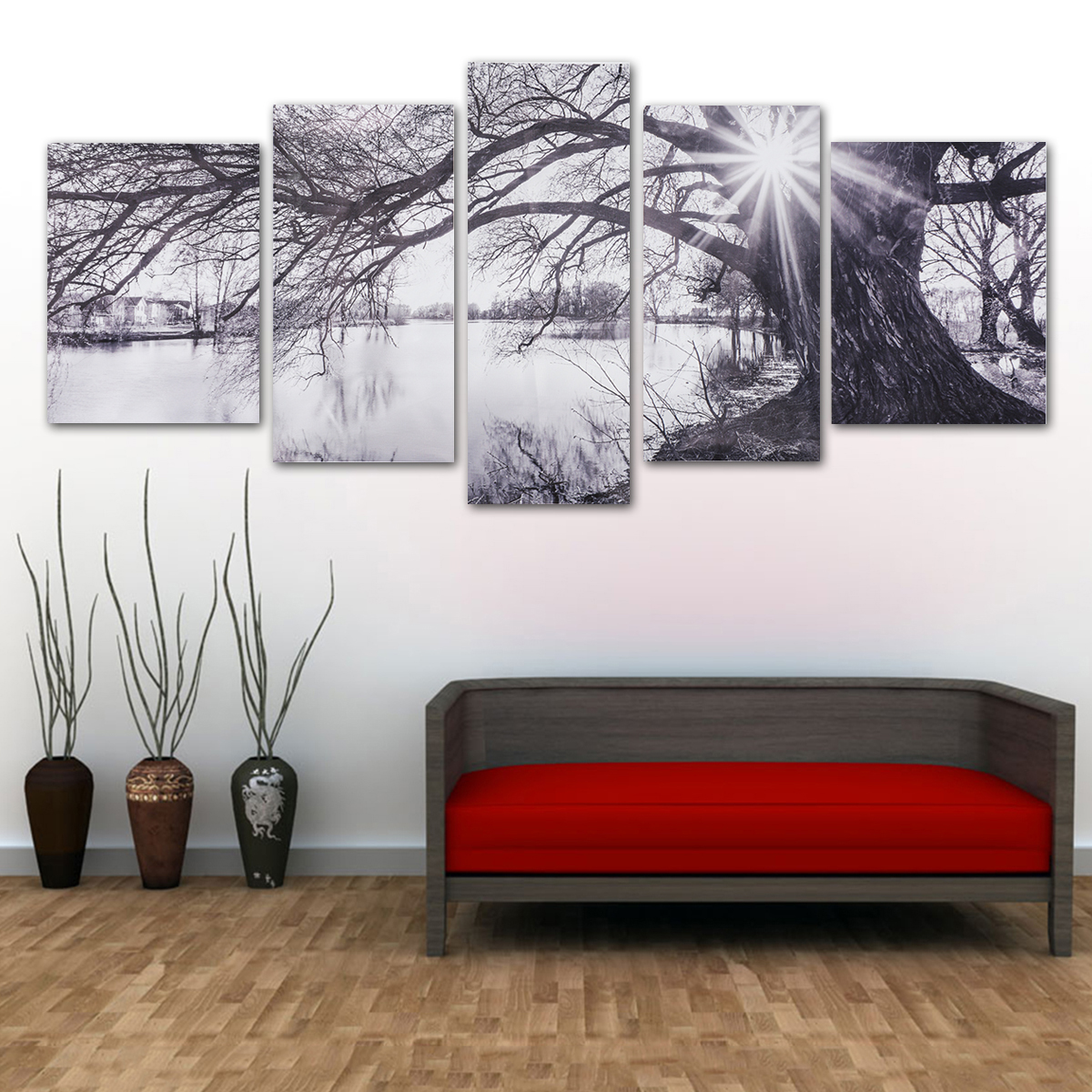 Modern Abstract Decorative Black and White Sun Paintings Pictures Canvas Wall Art Prints Unframed