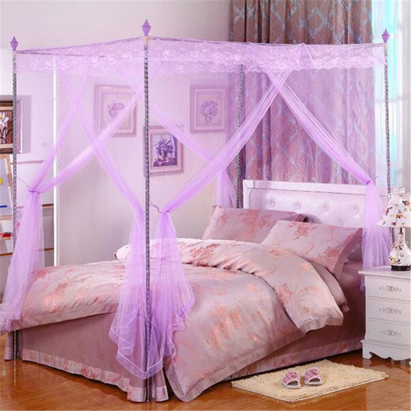 180X220cm Palace Mosquito Net Four Corner Bed Netting Canopy Insect Bug Curtain King Size