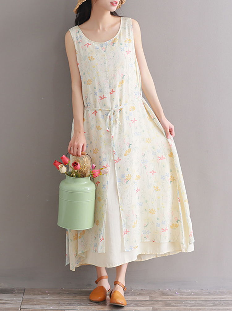Casual Women Floral Printed Sleeveless Dress