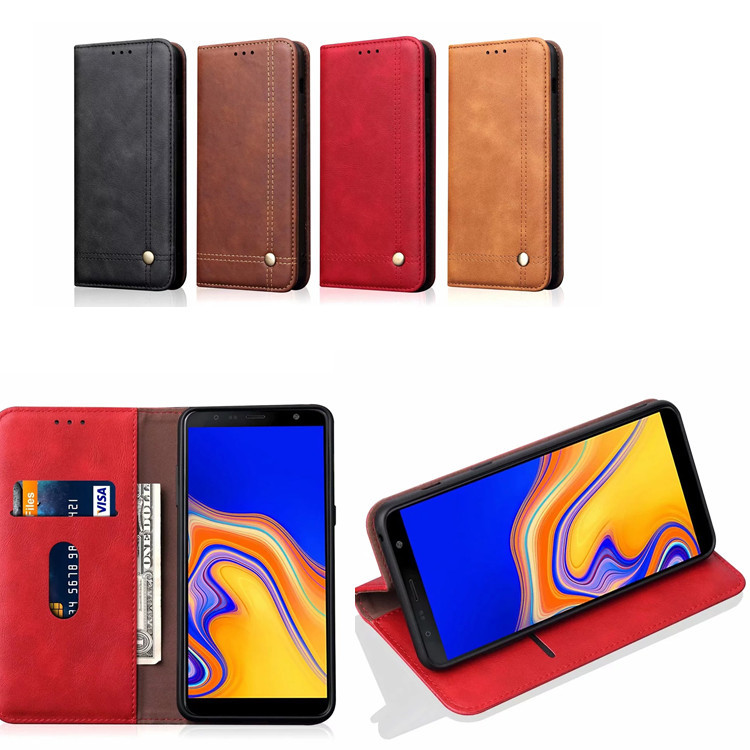 Bakeey Magnetic Flip Protective Case For Samsung Galaxy A7 2018/A9 2018 Wallet Card Slot Kickstand Cover
