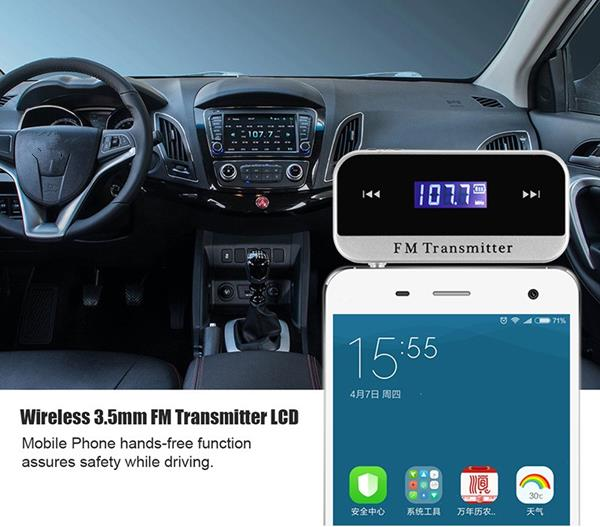 Wireless 3.5mm FM Transmitter LCD Diaplay for Car Mobile Phones iPhone6s iPod Samsung MP3 MP4 Player