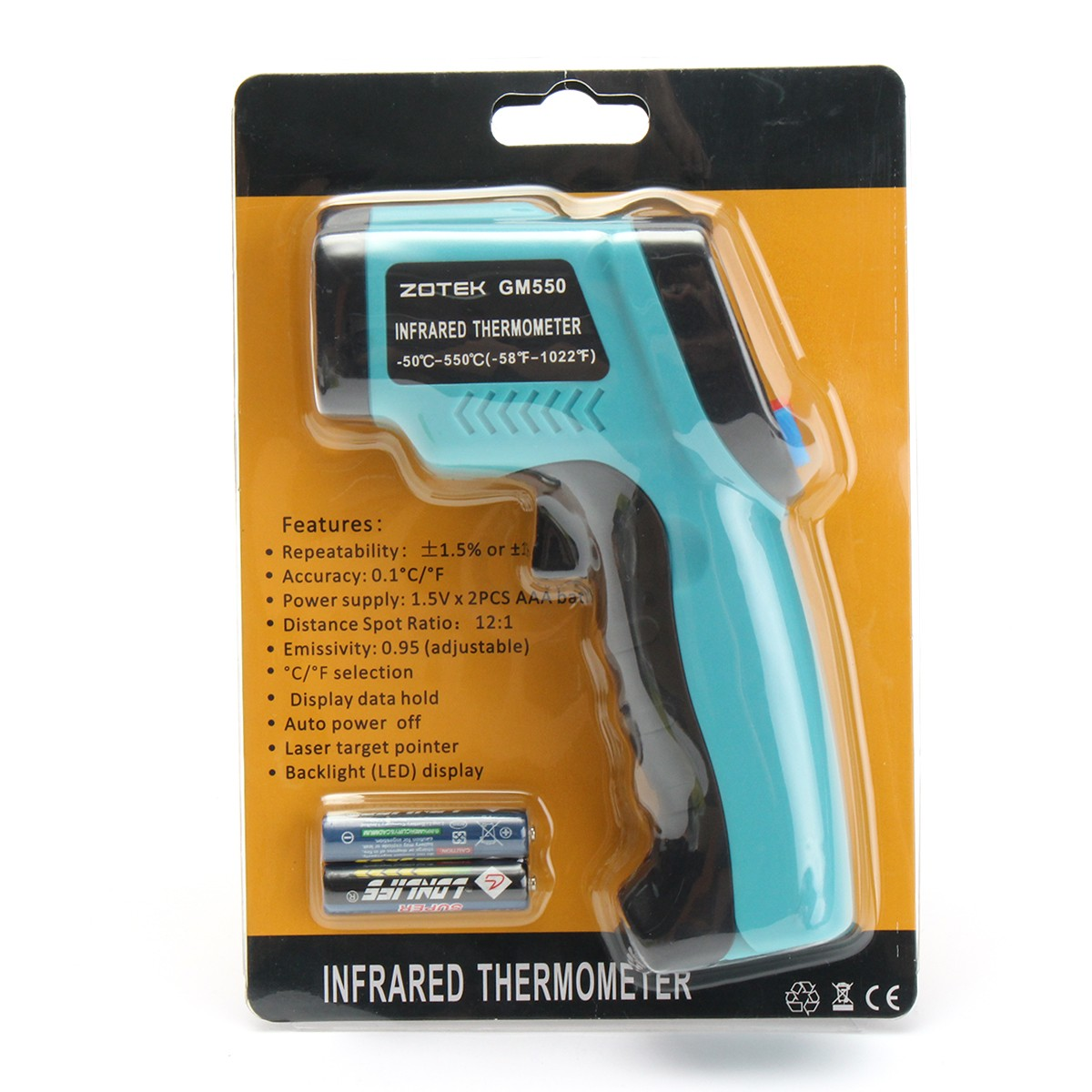 GM550 Digital Non Contact LCD IR Infrared Laser Point Handheld Temperature Tester Gun Thermometer -50~550℃
