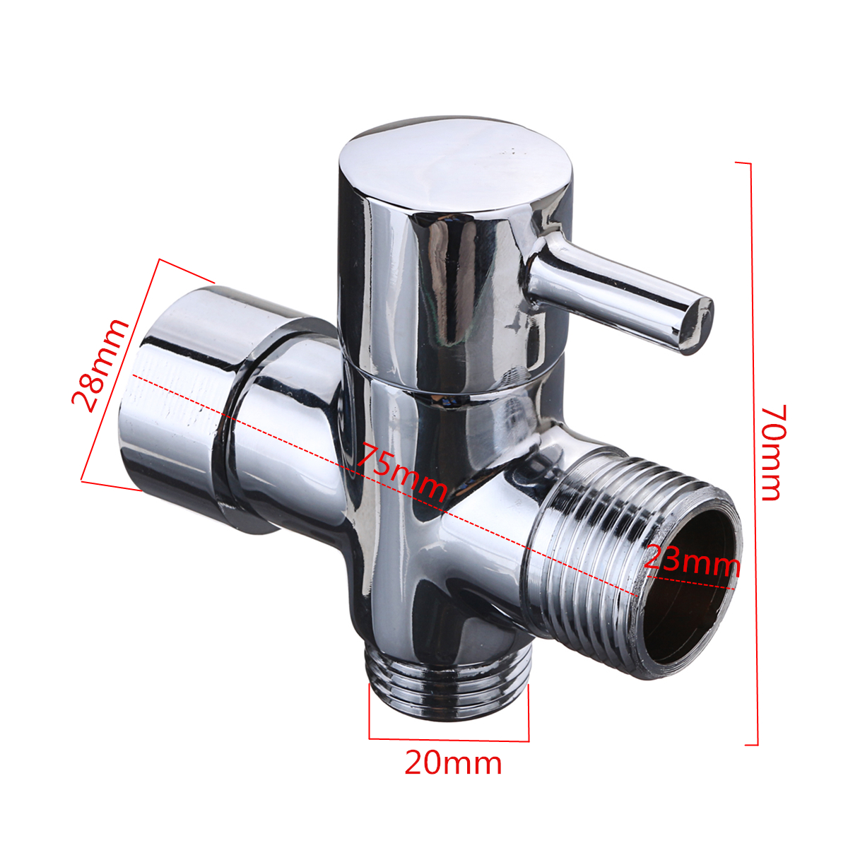 7/8 Inch T-Adapter 3 Way Connector Brass Shower Diverter with Valve for Toilet Bidet Handheld Sprayer