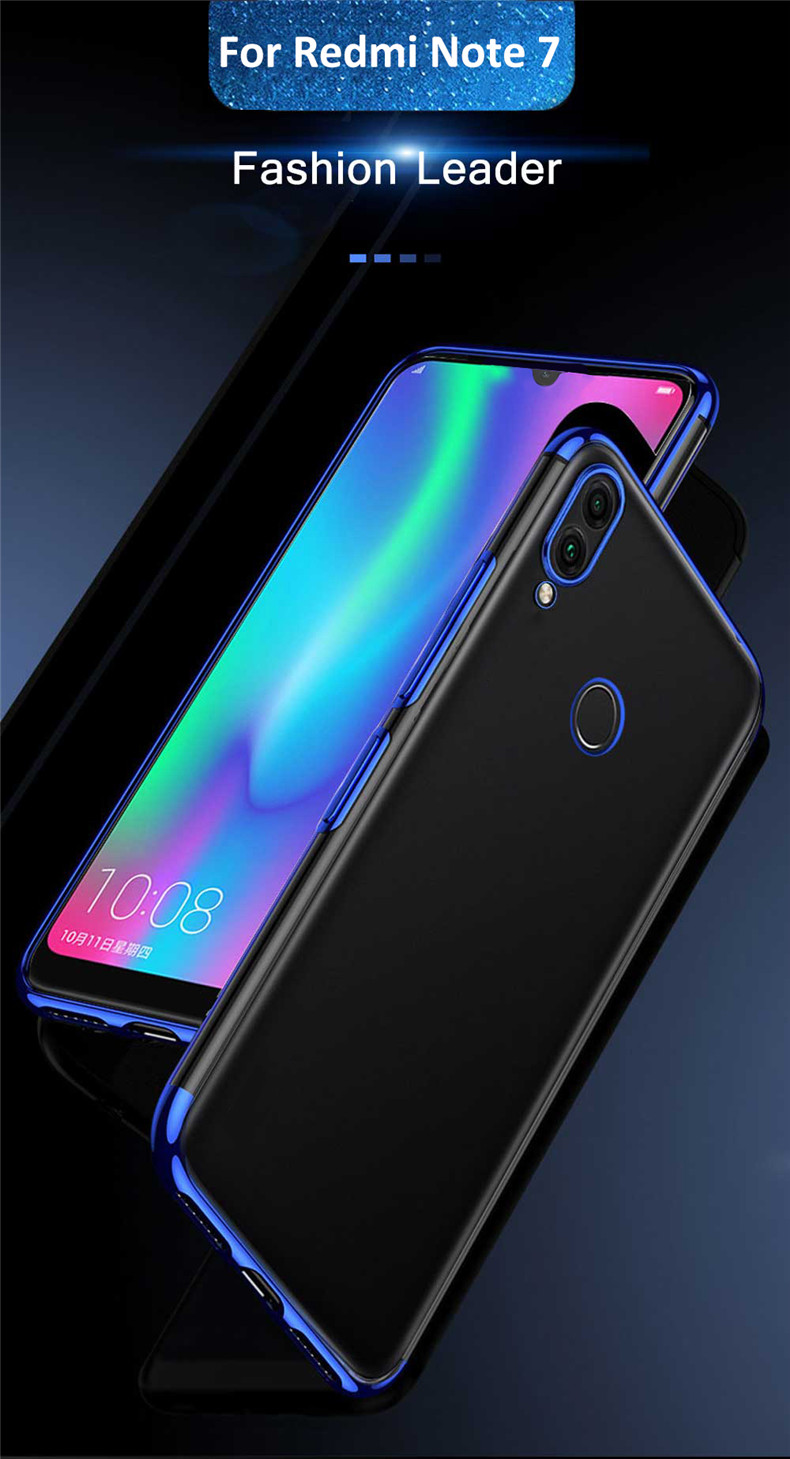 Bakeey™ Plating Transparent Shockproof Soft TPU Back Cover Protective Case for Xiaomi Redmi Note 7 / Note 7 Pro