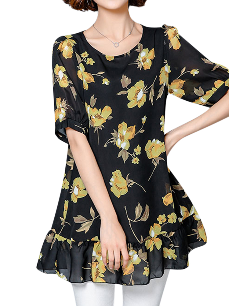 Women Floral Print Loose Short Sleeve Chiffon T-shirts