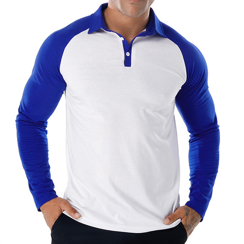 Men's Retro Patchwork Fit Long Sleeve Golf Shirts