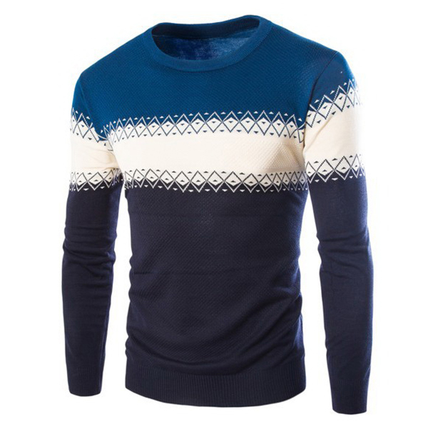 Winter Fashion Stripe Color Knitwears Mens Round Collar Long Sleeve Pullover Sweater