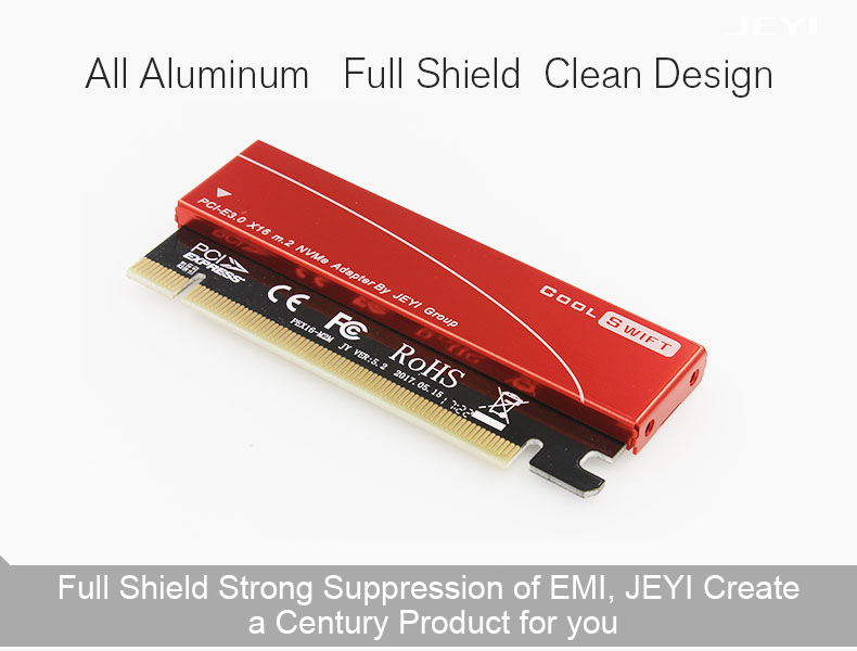 JEYI NVME M.2 PCI-E X16 2280 Expansion Card Gold Bar Aluminum Sheet Thermal Conductivity