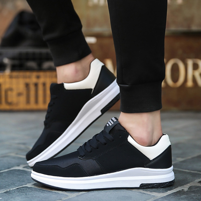S681 Outdoor Men Fashion Lace-up Breathe Black Casual Skateboard Shoes Sports Shoes Sneakers