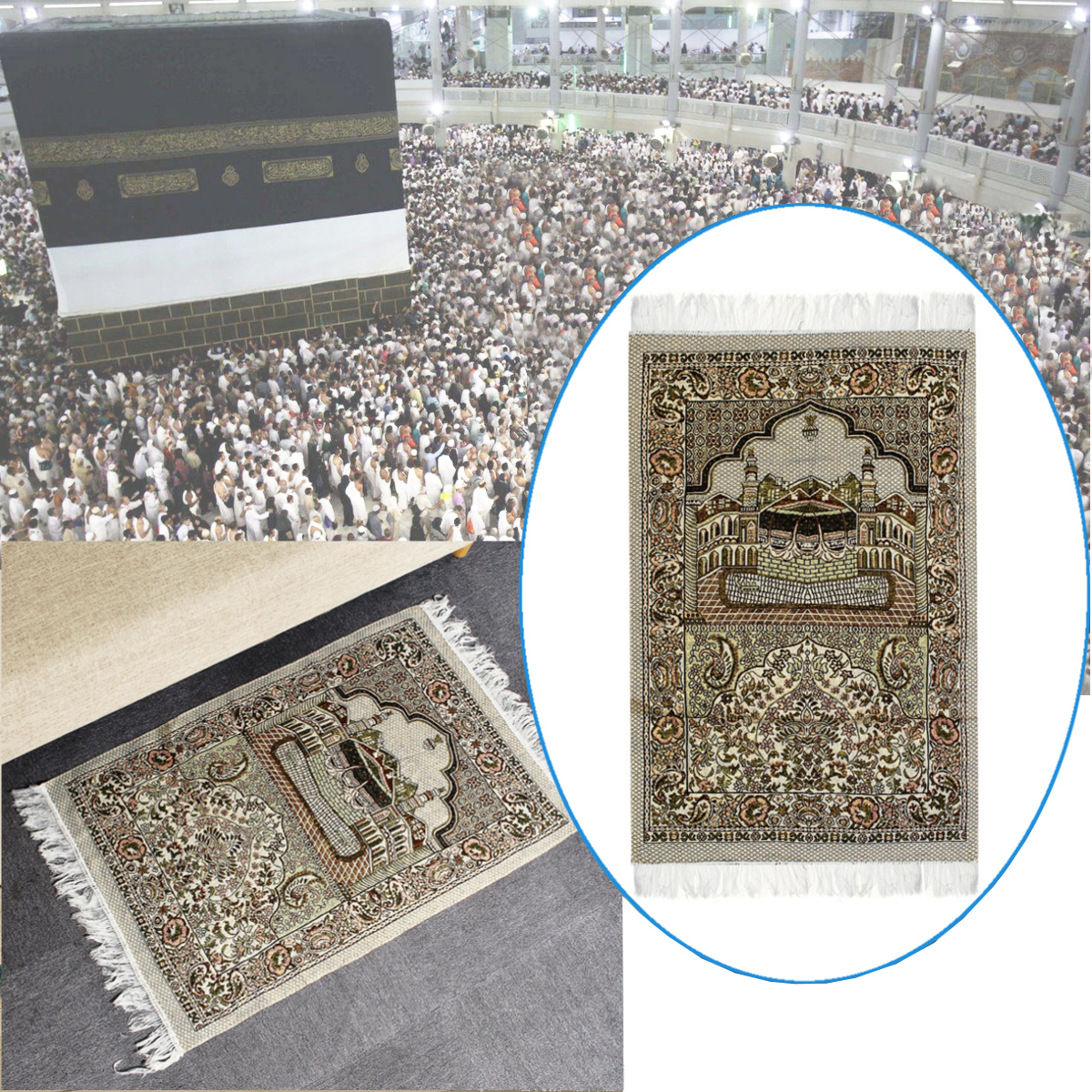110 x 70cm Islamic Prayer Rug Musallah Prayer Mat Carpet for Home Travel