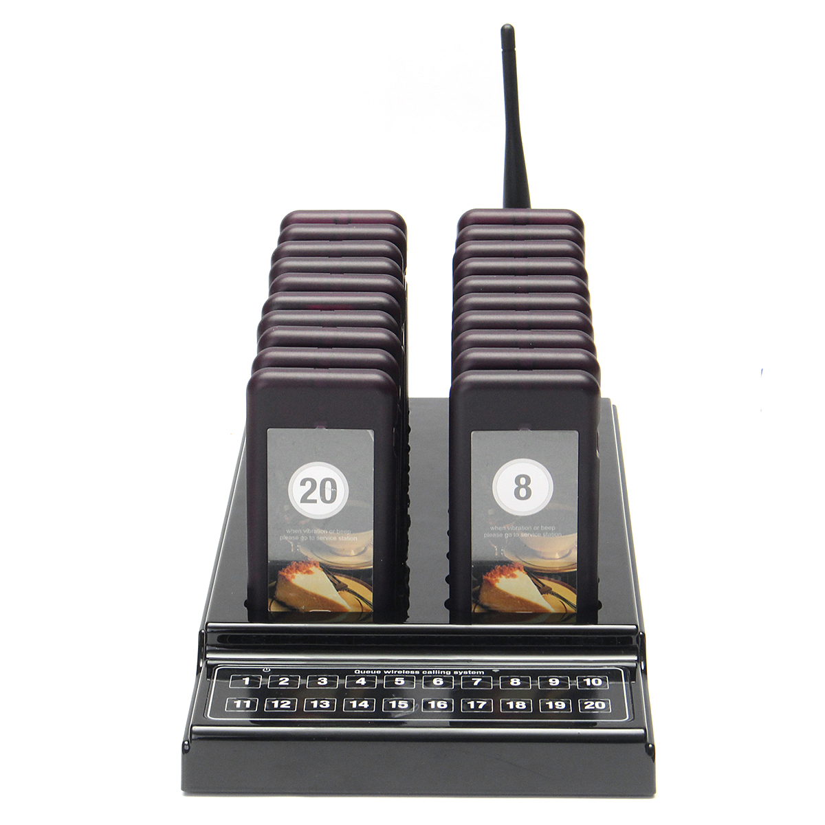 DC 5V Restaurant Wireless Guest Paging Queuing System 1 Transmitter 20 Chargeable Pagers