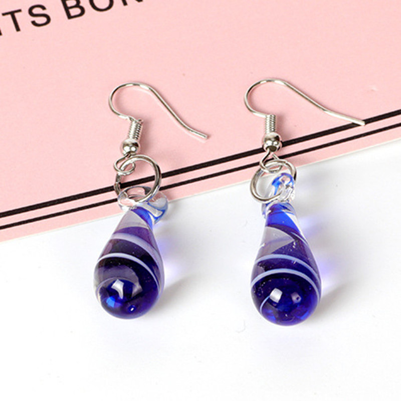 Spiral Flower Colored Glaze Drop Piercing Earring Unique Gif