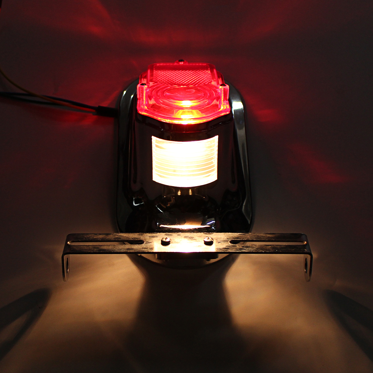 Motorcycle Rear Tail Lights Brake Stop Light Lamp License Plate Bracket For Harley Chopper Cafe Racer