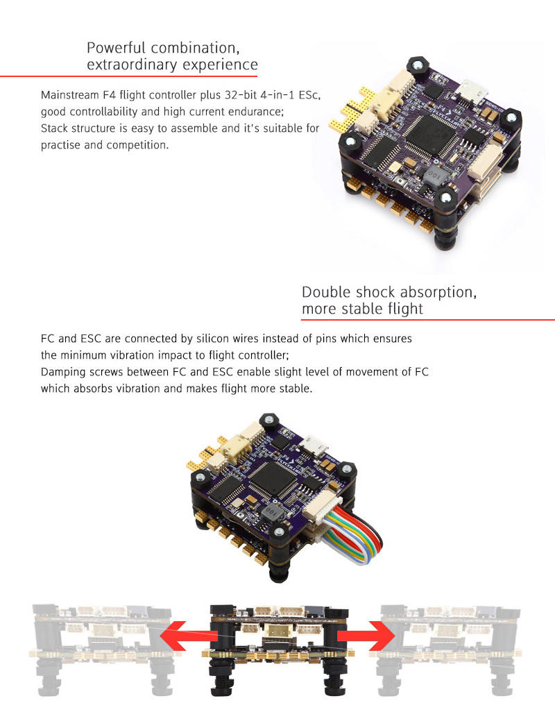Flycolor X-Tower F4 Flight Controller OSD + 40A BLHeli_32 4 IN 1 3-6S ESC Dshot1200 Current Sensor - Photo: 3