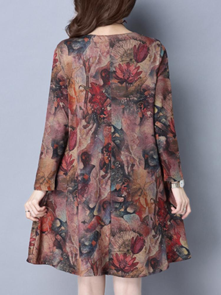 Elegant Ethnic Style Printed Frog O-Neck Mini Dress