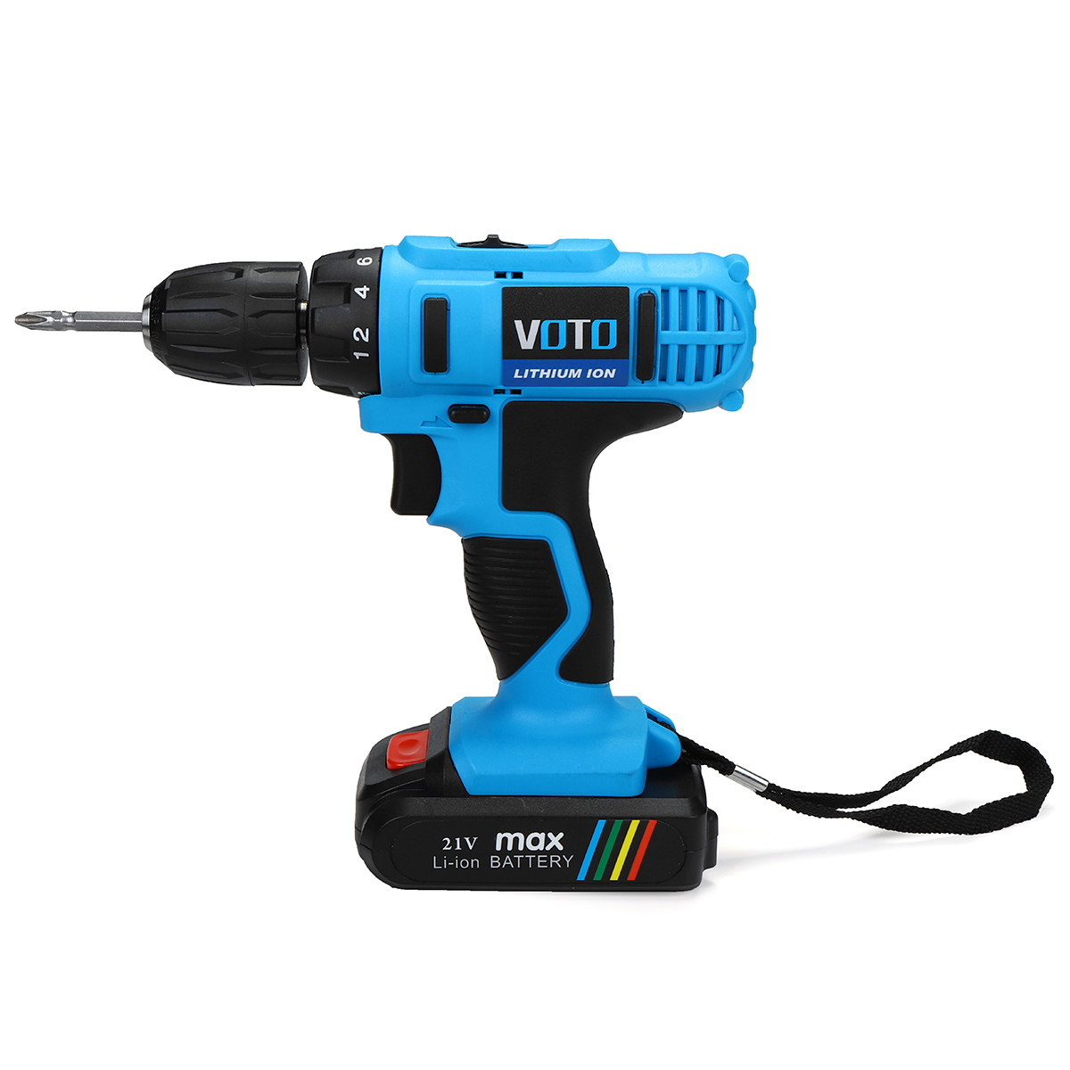 21V Reversible Li-ion Battery Cordless Drill Driver Electric Screwdriver Two-speed Drilling Tool