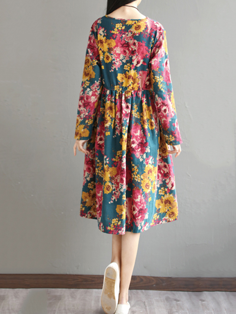 Retro Women Long Sleeve High Waist Floral Printed Swing Dresses