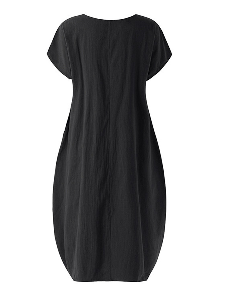 Plus Size Solid Color Cap Sleeve Cotton Dress With Pockets