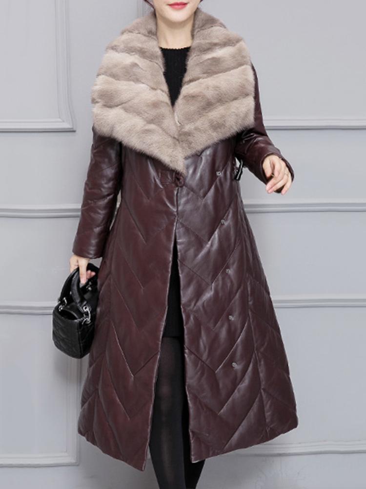 Plus Size Faux Fur Collar Mid-Long Down Coats
