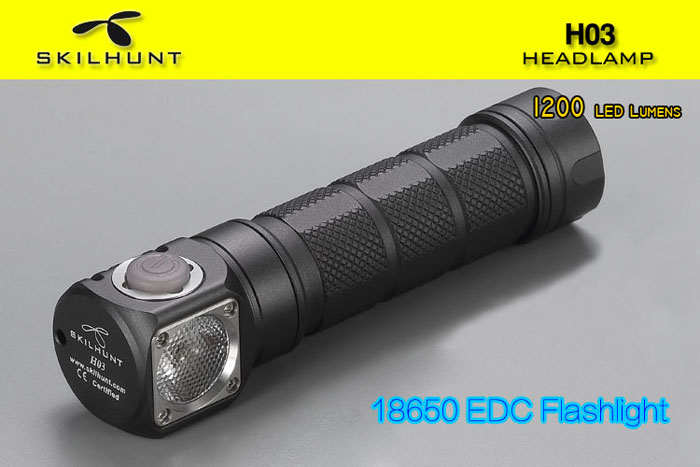 SKILHUNT H03 L2 1200LM TIR Lens Hand-free Headlamp + 18650 LED Flashlight