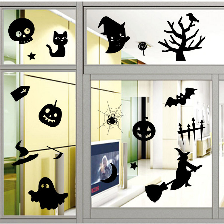 Creative Halloween Skull Pumpkin Cat PVC Waterproof Wall Sticker Removable Vinyl Art Mural Decoration Stickers Environmental Protection Halloween Wall Sticker Window Home Decoration Decal Decor
