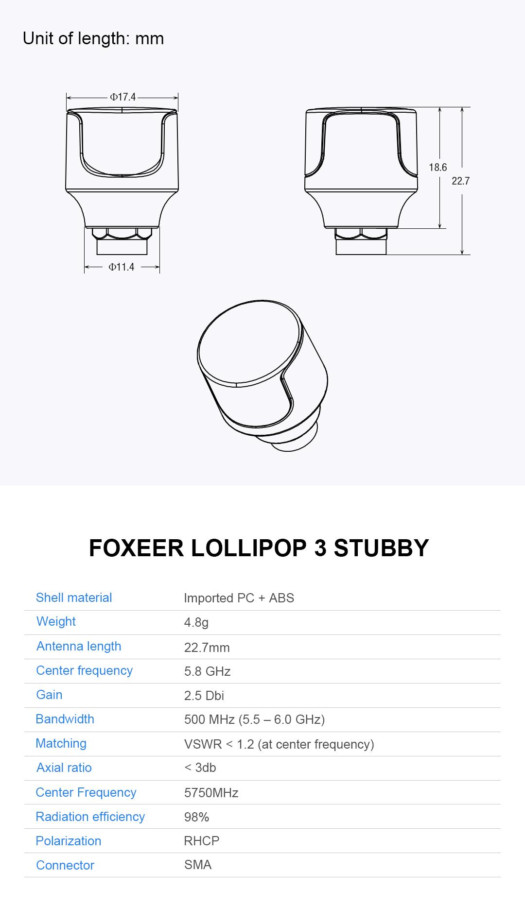 2pcs Foxeer 5.8G Lollipop 3 2.5DBi Stubby Omni FPV Antenna LHCP/RHCP for RC Drone - Photo: 4
