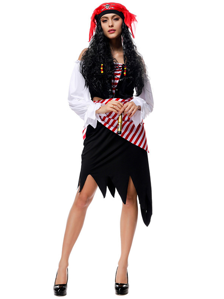 Halloween Pirate Costumes Cosplay Pirates of The Caribbean Dress with Belt Headbrand