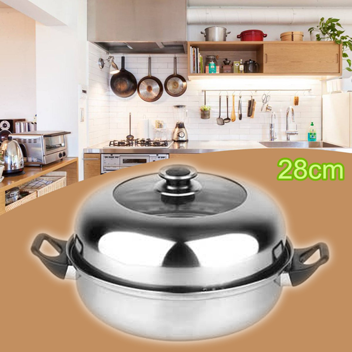 2 Tier Stainless Steel Steamer Induction Compatible Cookware 28cm Steam Pot