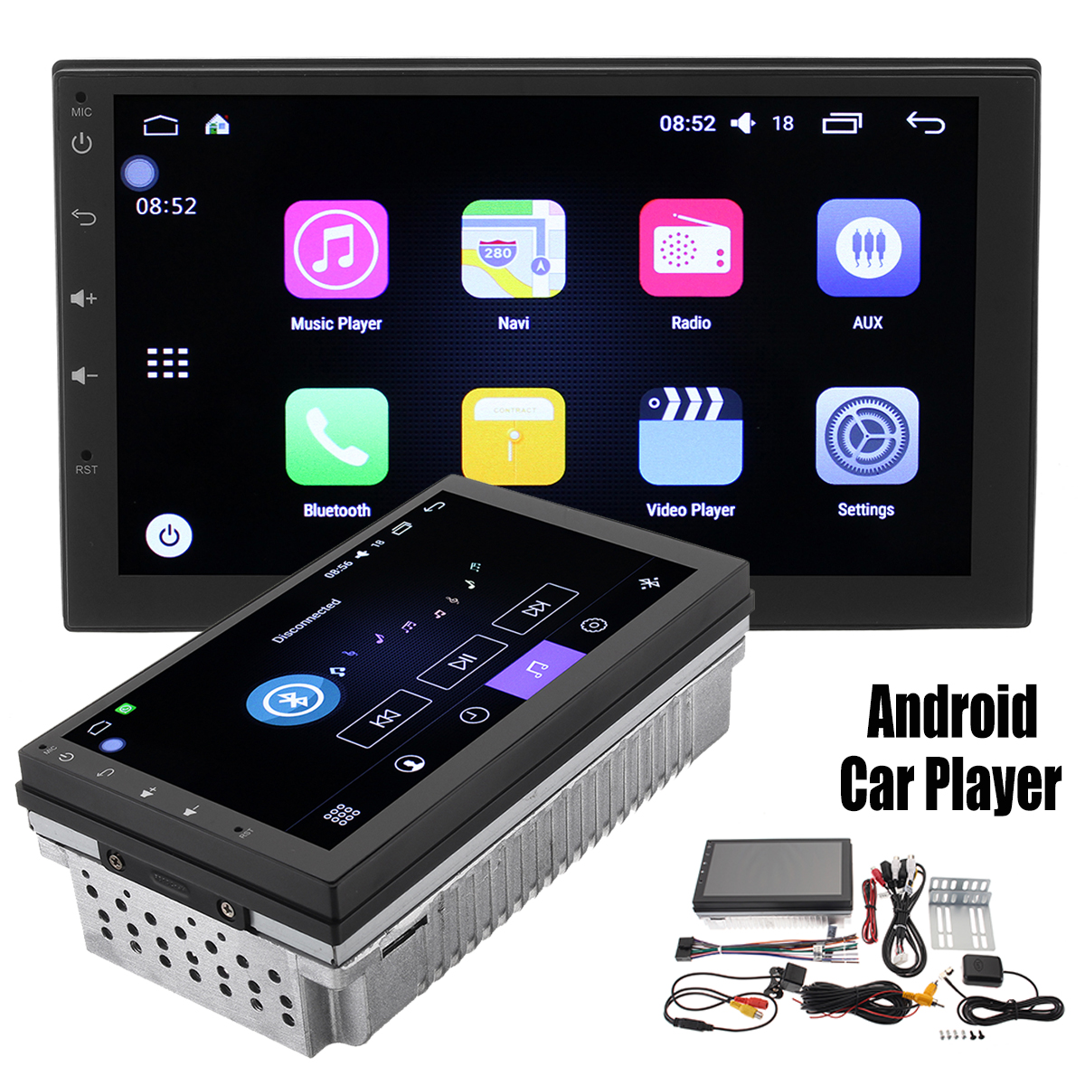 Quad Core Android 6.0 WIFI 7 Inch Double 2 DIN Car MP5 Player