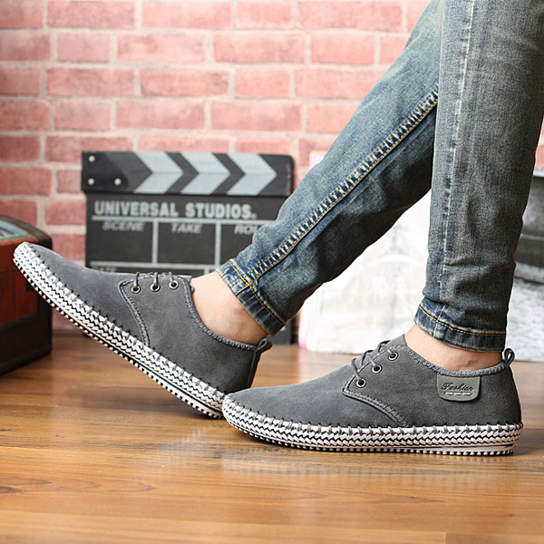 US Size 6.5-12 Men Casual Suede Lace Up Outdoor Soft Flats