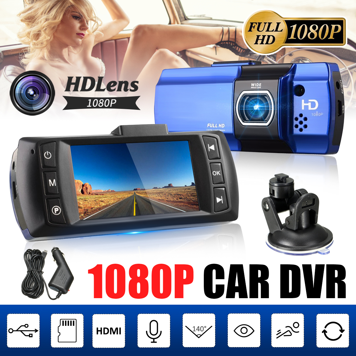 2.7 Inch LCD HD Full 1080P Car DVR Dash Camera Video Recorder G-sensor Night Vision